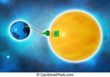 clean energy - planet earth and sun connected by an electric...