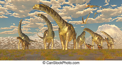Argentinosaurus Herd Migration - Hypsilophodon and...