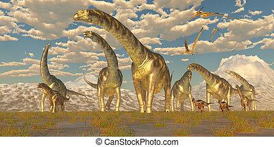 Argentinosaurus, manada, migración