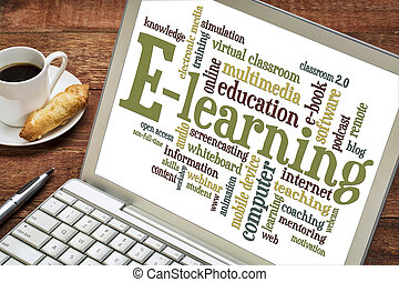 e-learning word cloud on laptop - online education concept -...