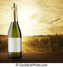 White wine bottle with vineyard on background - White wine...