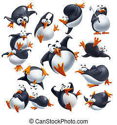 Funny penguins - Set of cute funny penguins isolated on...