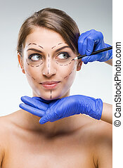 Beautiful woman with plastic surgery, depiction, plastic...