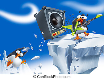 Loud penguin rockstar - Funny penguin playing electric...