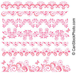 Beautiful pink seamless borders