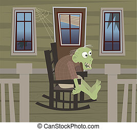 Zombie on a Rocking Chair - Cute zombie is sitting on a...