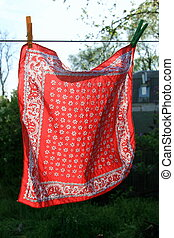 red scarf on the clothesline