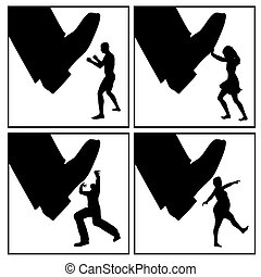 Conflict Strategy Fighting - Set of concept signs for...