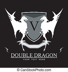 Twin White Dragon over the black background. Symbolizing...