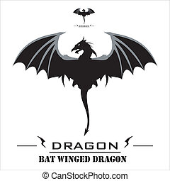 Black Dragon with the bat wings. - Symbolizing the power,...