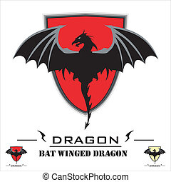 Bat Winged Dragon. - Bat Winged Dragon over the Red Shield....