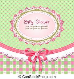 Baby shower for girl, vector illustration