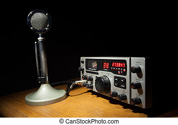 Radio communications - Old style microphone that is with a...