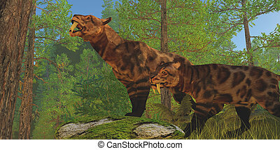 Saber-Toothed Cat Forest - Two Saber-Toothed Cats in the...
