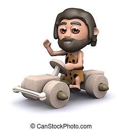 3d Caveman driving stone age car - 3d render of a caveman...