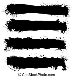 black ink banner - four ink splat banners with blank copy...