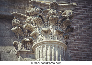 Justice, Corinthian capitals, stone columns in old building in S