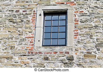 Windows with leaded glass - Historic window of a castle with...