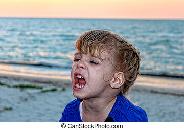 Shouting girl - Image of Shouting girl on a beautiful beach