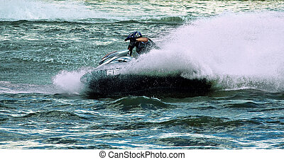 Jet ski water sport - High speed crazy jet ski water sport