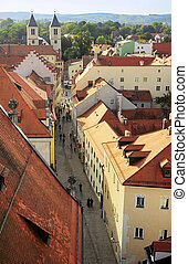 Regensburg Old Town - Top view of Old Town street of...