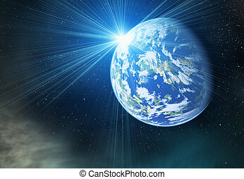 earth planet with flash on cosmos stars backgrounds