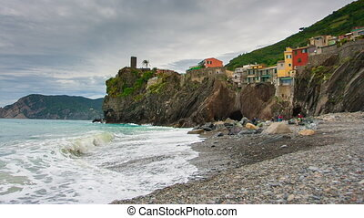 Picturesque view of Vernazza, Laguria, Italy , timelapse