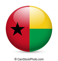 Round glossy icon of Guinea-Bissau - Flag of Guinea-Bissau...