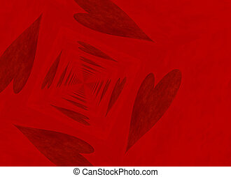 vanishing point perspective of red heart backgrounds