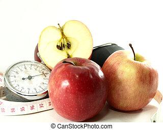 manzanas, medición, cinta, sangre, presión,...