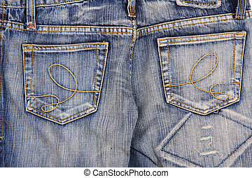 blue jeans background - old blue jeans as nice fashion...