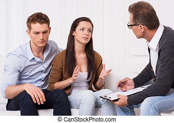 preguntar, experto, Consejo, frustrado, joven, pareja,...