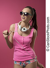 girl listen music - funny sexy girl with pink singlet,...