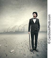 Vintage businessman in post atomic setting - Vintage...