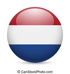 Round glossy icon of Netherlands - Flag of Netherlands as...