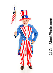 Uncle Sam with American Flag - American icon Uncle Sam...