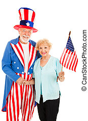 Uncle Sam and Friend - Pretty senior woman meets American...
