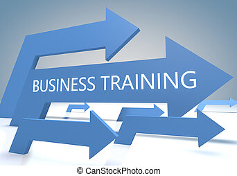 Business Training 3d render concept with blue arrows on a...