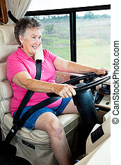 Senior Woman Behind the Wheel
