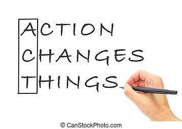 Action changes things spelling the word act
