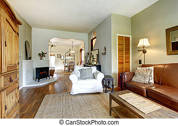 Living room in old house with antique furniture