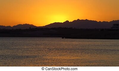 Sea at sunset - Red Sea at sunset in Sharm el Sheikh