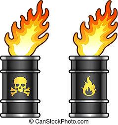 Metal oil barrels in flame with danger signs - Black metal...