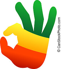 Okay human hand gesture sign in rastafari flag colors