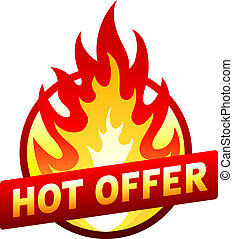 Hot offer red price sticker badge with flame - Isolated on...