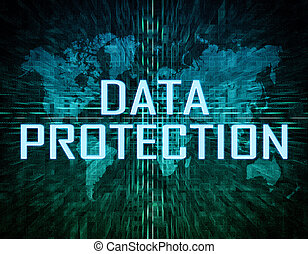 Data Protection text concept on green digital world map...