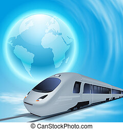 Concept background with high-speed train and the globe.