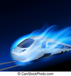 High-speed train in motion blue flame at night EPS10 vector...