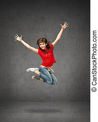 happy jumping teenage girl - lifestyle, dancing and people...