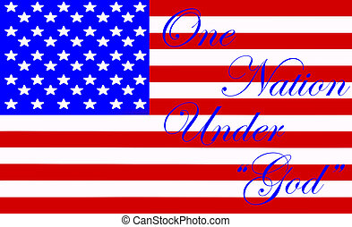 """An Illustration of the American flag with the words """"One..."""